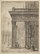 Temple courtyard with figures, after David Teniers the Elder (?)