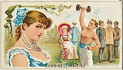 Dumb-Bell Raising, from the Games and Sports series (N165) for Old Judge Cigarettes
