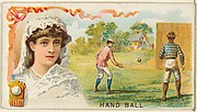 Handball, from the Games and Sports series (N165) for Old Judge Cigarettes