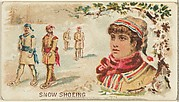 Snowshoeing, from the Games and Sports series (N165) for Old Judge Cigarettes