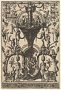 Surface Decoration, Grotesque with Strapwork, Including a Wall Niche under a Strapwork Canopy, Bacchic Scene below from Veelderleij Veranderinghe van grotissen ende Compertimenten...Libro Primo