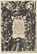 Cartouche from Veelderleij niewe inventien van antijckesche sepultueren diemen nou zeere ghebruijkende is met noch zeer fraeije grotissen en compertimenten zeer beqwame voer beeltsniders antijcksniders schilders en all constenaers...Libro Secundo