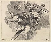 Four cherubs carrying a cross
