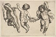 Two Cherubs Dancing with a Small Boy