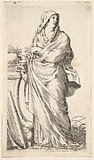 Robed woman standing next to a plinth, her right hand bears a palm branch, a harp rests against the plinth