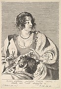 Delilah preparing to cut Samson's hair with scissors in her right hand, below her chest are the head and shoulders of the sleeping Samson