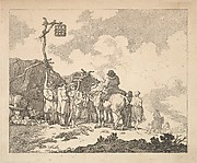 A Fair – A Group of Gypsies – Men and Women in Rustic Clothes in Front of Two Makeshift Tents (from Imitations of Modern Drawings)