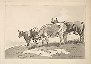 Three Cows Standing on the Ridge of a Field (from Imitations of Modern Drawings)