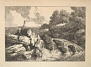 Landscape with Two Fishermen Climbing Rocks Next to a Waterfall (from Imitations of Modern Drawings)