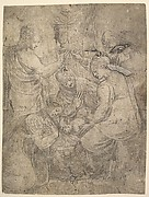 The Christ Child in the Cradle surrounded by adoring figures