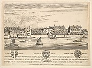 Views of Durham House, Salisbury House and Worcester House on Thames, not by Hollar