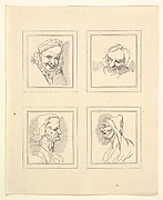 Four Heads (from Characaturas by Leonardo da Vinci, from Drawings by Wincelslaus Hollar, out of the Portland Museum)