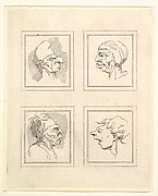 Four Heads (from Characaturas by Leonardo da Vinci, from Drawings by Wenceslaus Hollar, out of the Portland Museum)