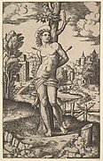 Saint Sebastian tied to a tree and pierced with arrows