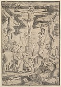 The conversion of the Centurion who flings his arms open before Christ on the cross