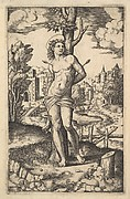 Saint Sebastian tied to a tree pierced by arrows