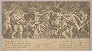 The sacrifice to Priapus who is in the form of a statue in the centre,  Bacchus and a satyr at the left