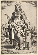 Saint Barbara standing, palm in her right hand, resting her left hand on a tower