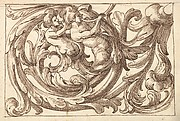 Horizontal Panel Design with Two Male Figures Playing Horns Interspersed between Acanthus Rinceaux