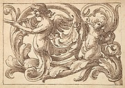 Horizontal Panel Design with a Male Figure, a Putto and a Snake Interspersed between Acanthus Rinceaux