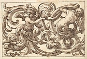 Horizontal Panel Design with Two Young Male Figures between Acanthus Rinceaux