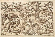 Horizontal Panel Design with a Man fighting a Sphinx and a Fantastical Creature Interspersed between Acanthus Rinceaux