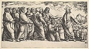 Christ standing at left indicating to a flock of sheep, before him kneels St. Peter holding the keys to the church, behind him to the left stand the Apostles
