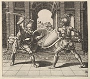 Two gladiators fighting in front of an arch