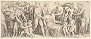 The wedding of Jason and Creusa, at left Medea takes her children