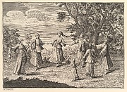"""A Native Dance (Aubry de La Mottraye's """"Travels throughout Europe, Asia and into Part of Africa...,""""  London, 1724, vol. I, pl. 11)"""