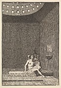 """A Turkish Bath (Aubry de La Mottraye's """"Travels throughout Europe, Asia and into Part of Africa...,""""  London, 1724, vol. I, pl. 10)"""