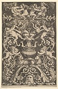 A panel of ornamnet with putti, goat and other figures