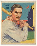"""Mel"" Ott, from the Diamond Stars series (R327) for the National Chicle Gum Company"