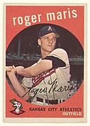 "Roger Maris, Outfielder, Kansas City Athletics, from the ""1959 Topps Regular Issue"" series (R414-14), issued by Topps Chewing Gum Company."