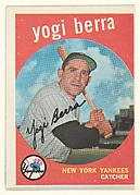"Yogi Berra, Catcher, New York Yankees, from the ""1959 Topps Regular Issue"" series (R414-14), issued by Topps Chewing Gum Company."