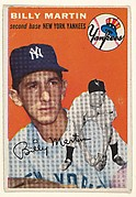 "Billy Martin, 2nd Base, New York Yankees, from ""1954 Topps Regular Issue"" series (R414-8), issued by Topps Chewing Gum Company."
