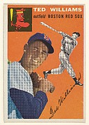"Card Number 1, Ted Williams, Outfield, Boston Red Sox, from ""1954 Topps Regular Issue"" series (R414-8), issued by Topps Chewing Gum Company."