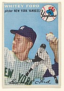 "Card Number 37, Whitey Ford, Pitcher, New York Yankees, from ""1954 Topps Regular Issue"" series (R414-8), issued by Topps Chewing Gum Company."