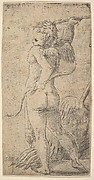 Cupid viewed from behind with an arrow in his raised right hand