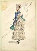 Costume Design for 'Fourth Ballet Girl (Fraülein Hochspitz)' (in long beige gown)