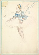 Costume Design for 'Seventh Ballet Girl' (Short White and Blue Striped Dress)