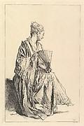 Femme assise, de profil à droite, jouant de l'eventail