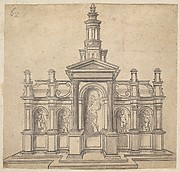 Architecturally-Shaped Tabernacle with a Saint and Four Putti