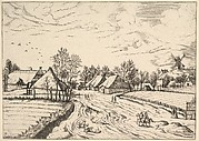 Country Village with Post Mill from Multifariarum casularum ruriumque lineamenta curiose ad vivum expressa