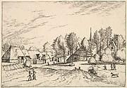 Country Village with Church Tower from Multifariarum casularum ruriumque lineamenta curiose ad vivum expressa