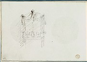 Sketch of a Fireplace with a Mirror Surrounded by Drapery