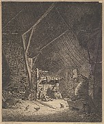 Interior of a Barn with Mother and Two Children, Right in Front a Pig (copy)