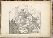 A Man and a Monkey Riding on Horseback (in Sketch Book With Drawings on Twenty-six Leaves)