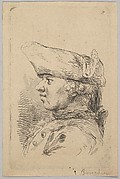 Head of a man in profile wearing a tricorne