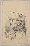 Head of a man in profile wearing a tricorne